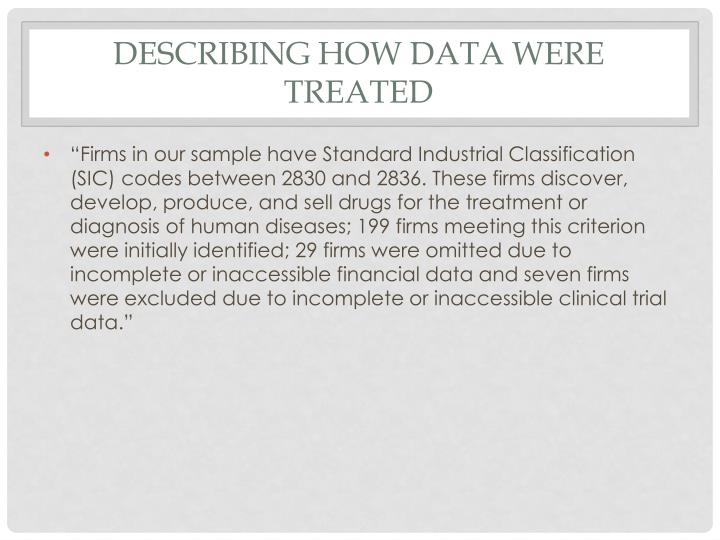 Describing how data were treated