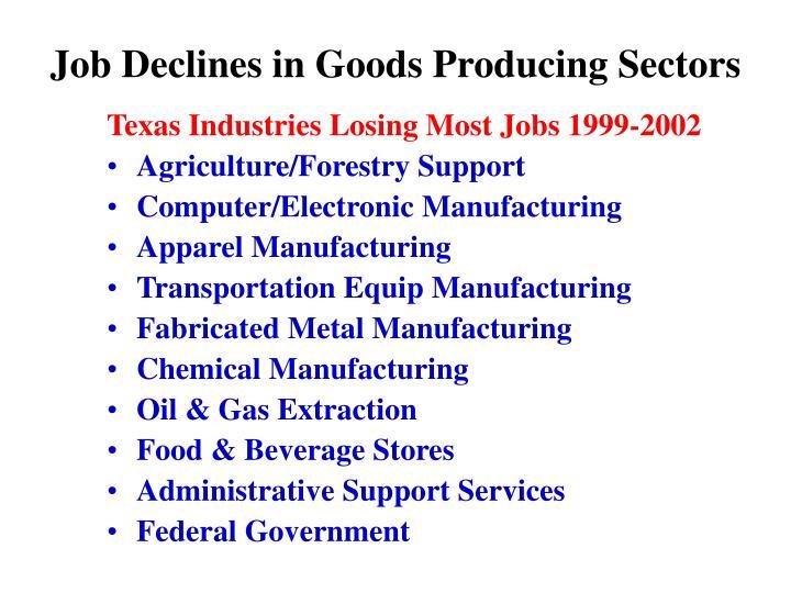 Job Declines in Goods Producing Sectors