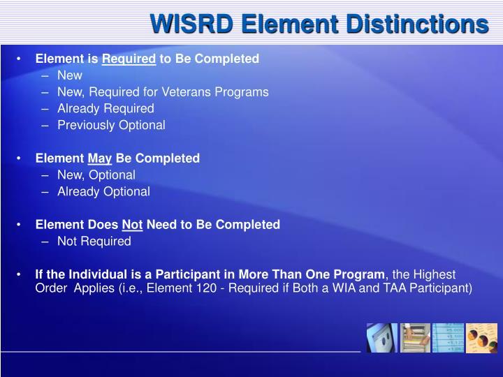 WISRD Element Distinctions