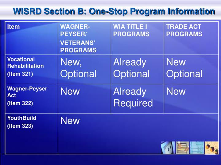WISRD Section B: One-Stop Program Information