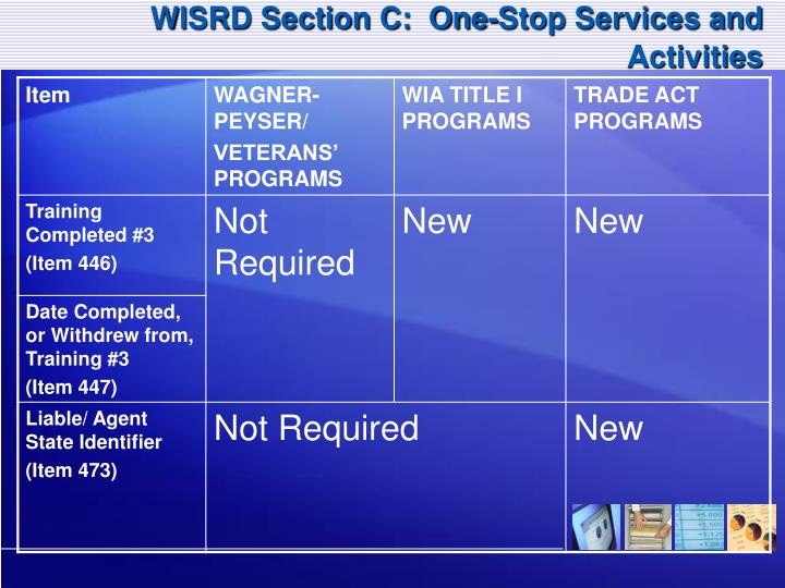 WISRD Section C:  One-Stop Services and Activities