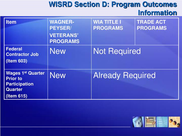 WISRD Section D: Program Outcomes Information