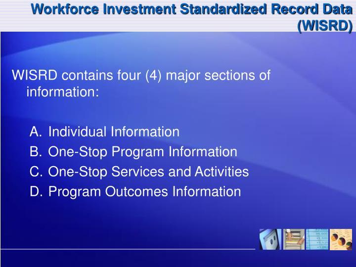 Workforce Investment Standardized Record Data (WISRD)