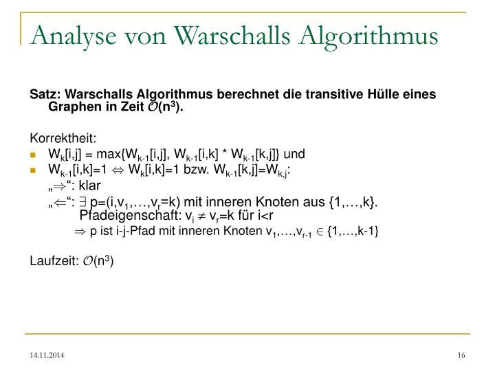 Analyse von Warschalls Algorithmus