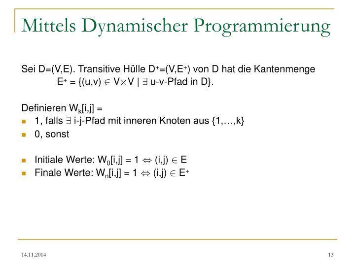 Mittels Dynamischer Programmierung