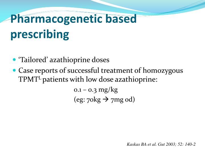 Pharmacogenetic based prescribing