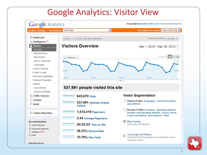 Google Analytics: Visitor View