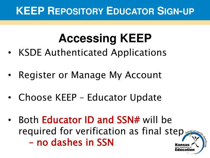 KEEP Repository Educator Sign-up
