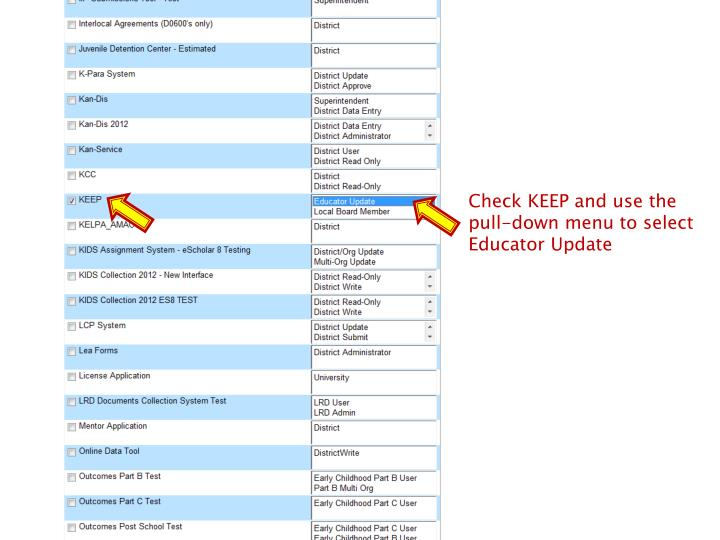 Check KEEP and use the pull-down menu to select Educator Update