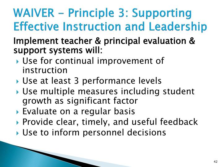 WAIVER - Principle 3: Supporting Effective Instruction and Leadership