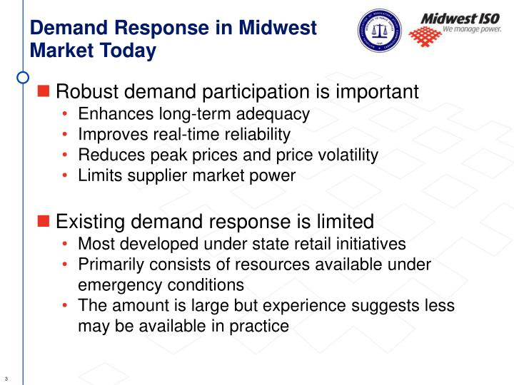 Demand Response in Midwest Market Today