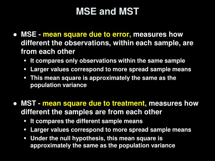 MSE and MST