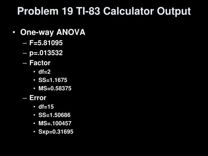 Problem 19 TI-83 Calculator Output