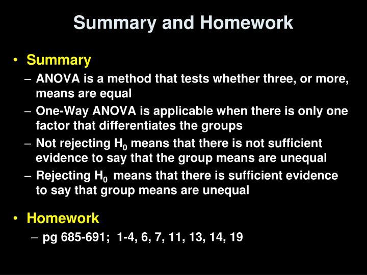 Summary and Homework