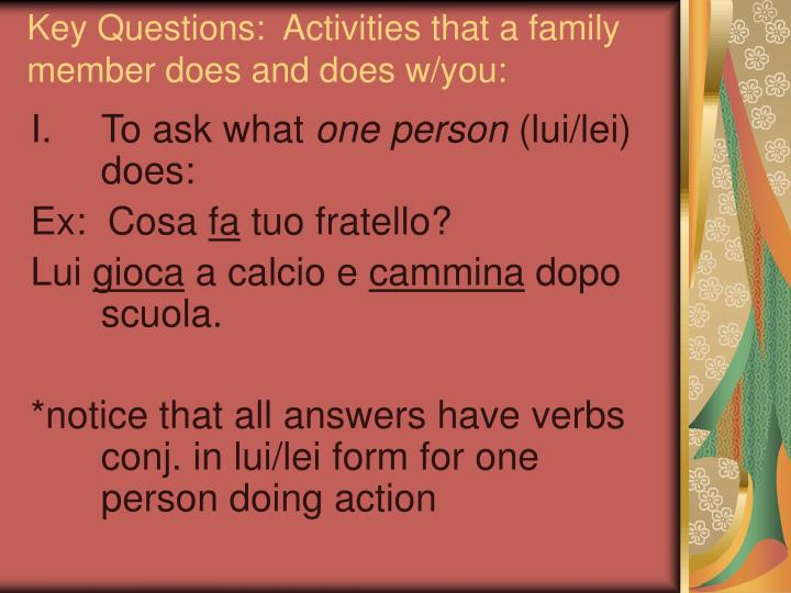 Key Questions:  Activities that a family member does and does w/you: