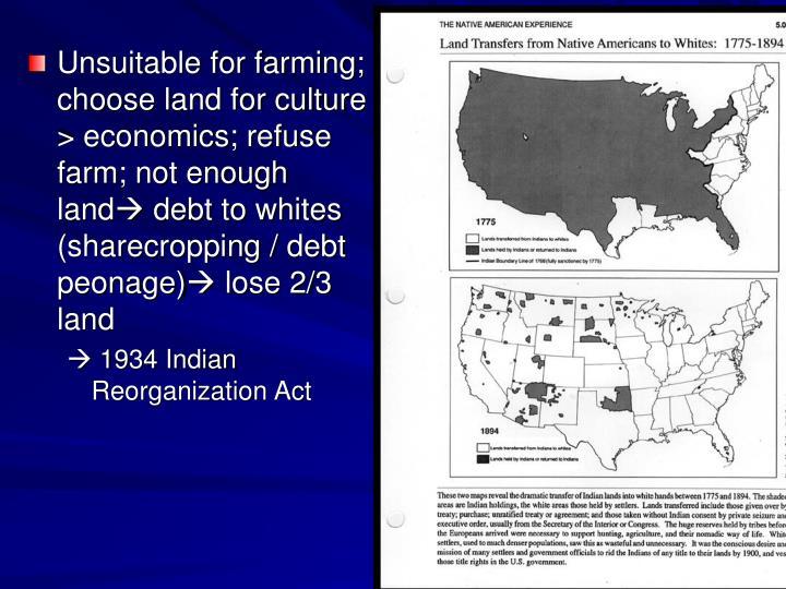 Unsuitable for farming; choose land for culture > economics; refuse farm; not enough land