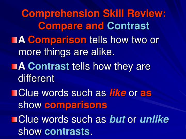 Comprehension Skill Review: Compare and