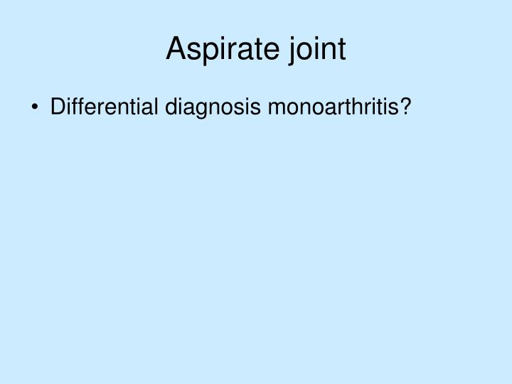 Aspirate joint