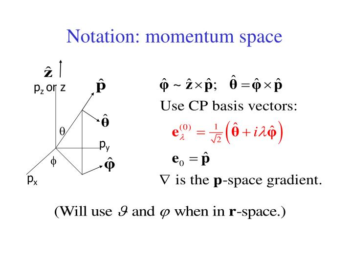 Notation momentum space