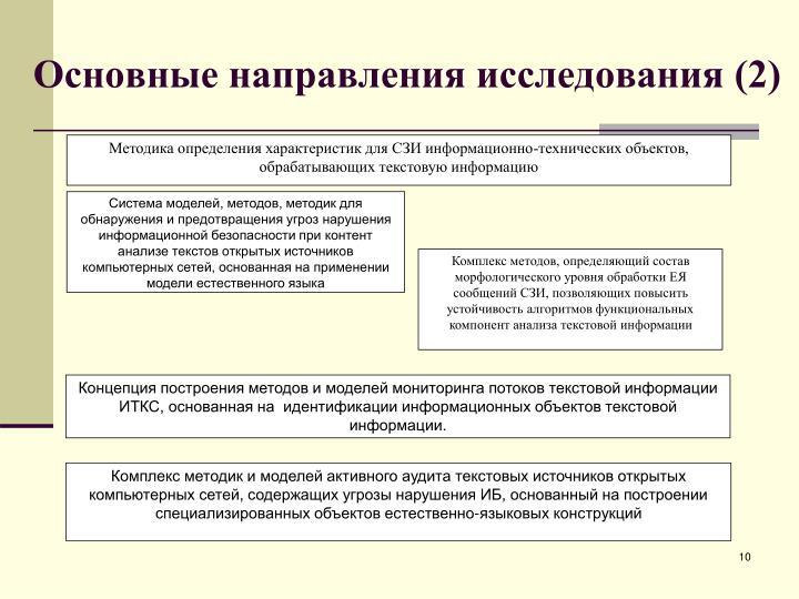 Основные направления исследования (2)