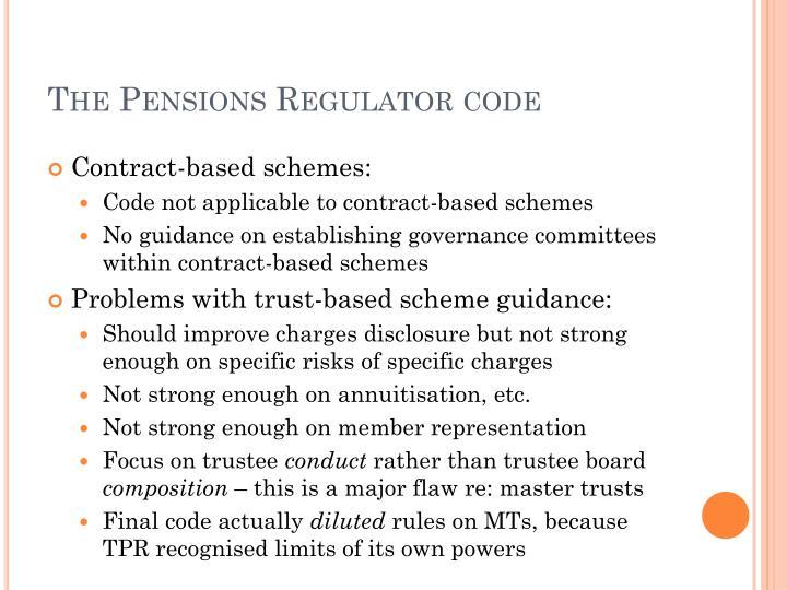 The Pensions Regulator code