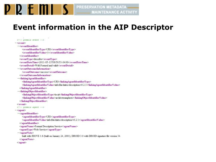 Event information in the AIP Descriptor