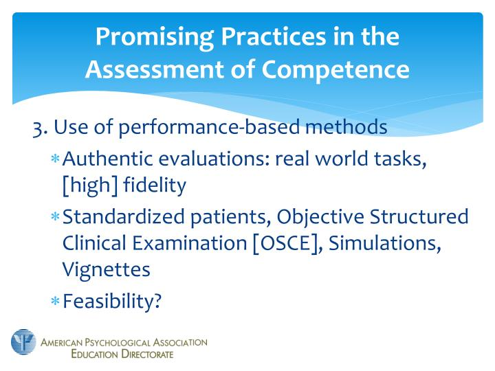Promising Practices in the Assessment of Competence