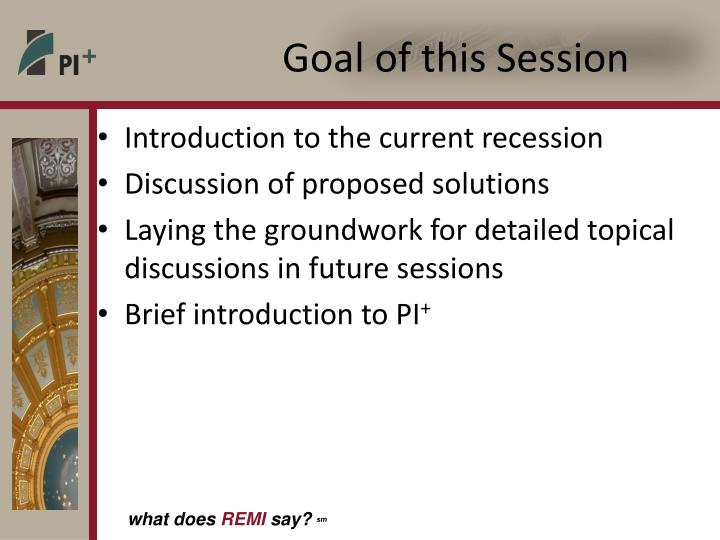Goal of this Session