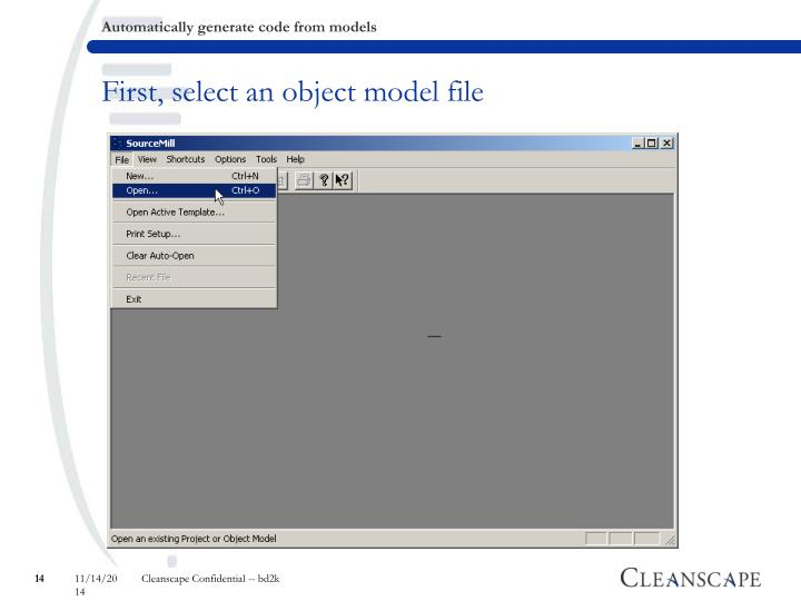 First, select an object model file