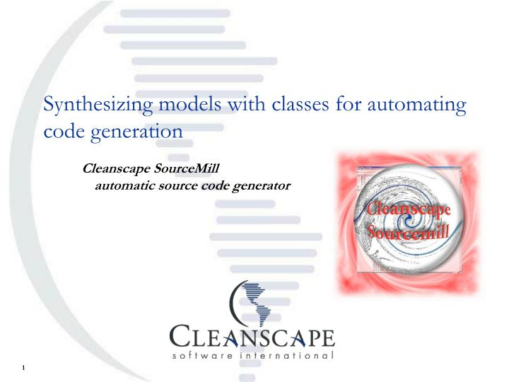 Synthesizing models with classes for automating code generation