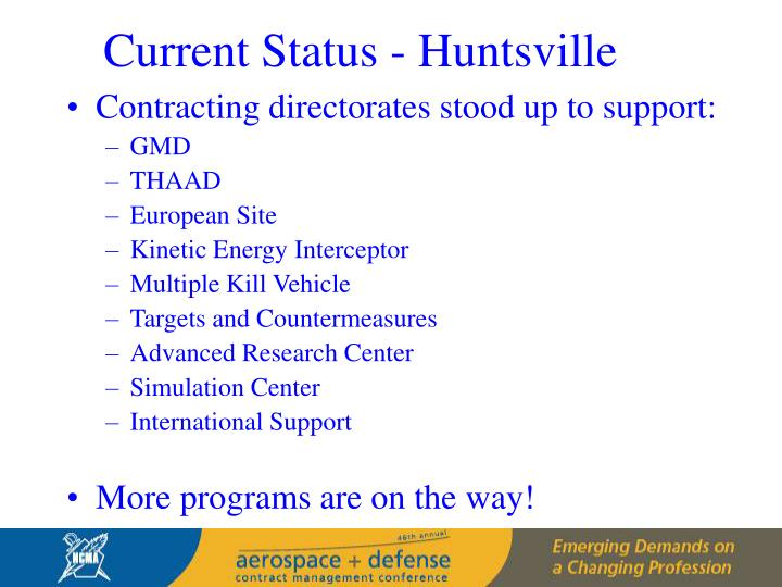 Current Status - Huntsville