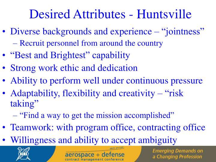 Desired Attributes - Huntsville