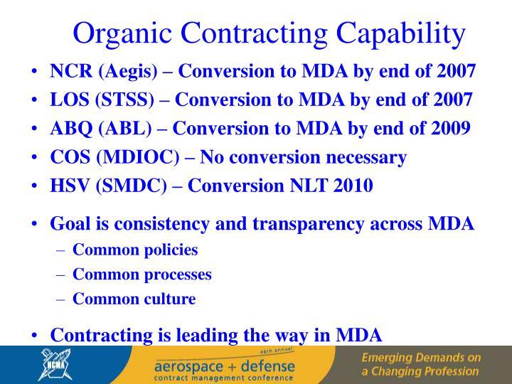 Organic Contracting Capability