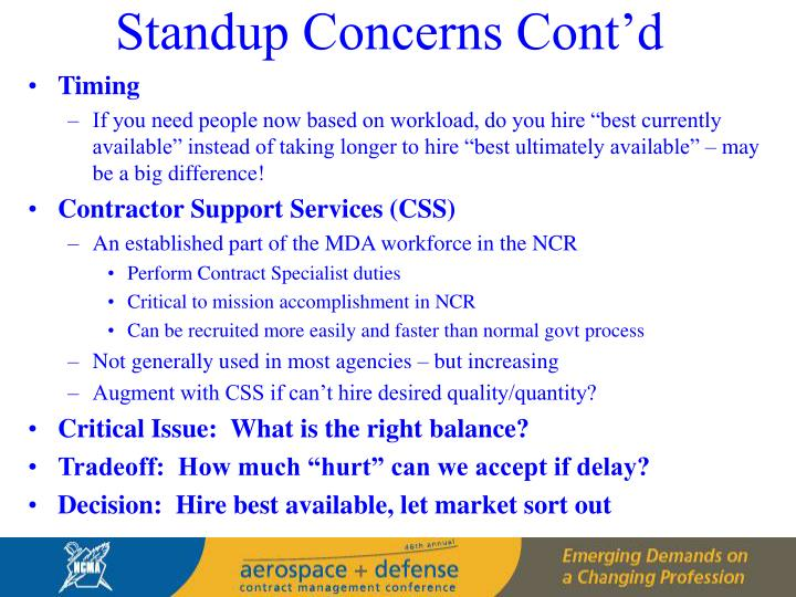 Standup Concerns Cont'd