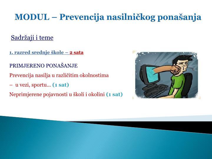 MODUL – Prevencija nasilničkog ponašanja