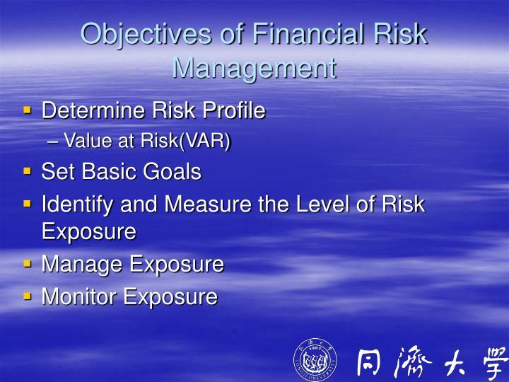 Objectives of Financial Risk Management