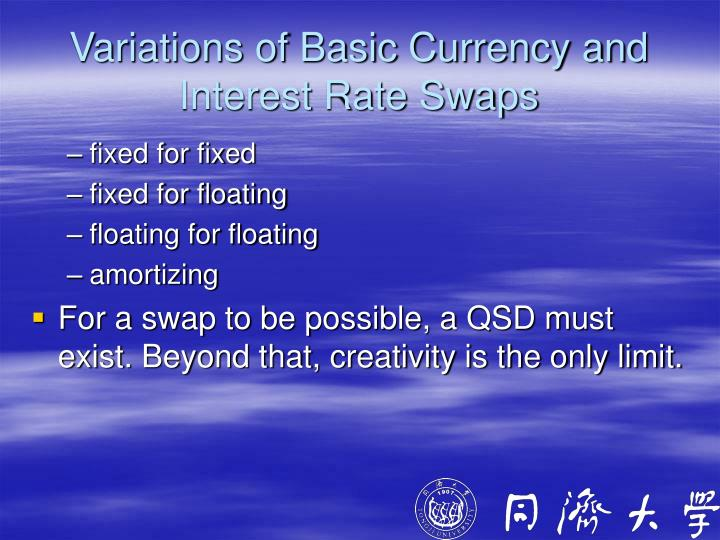 Variations of Basic Currency and Interest Rate Swaps