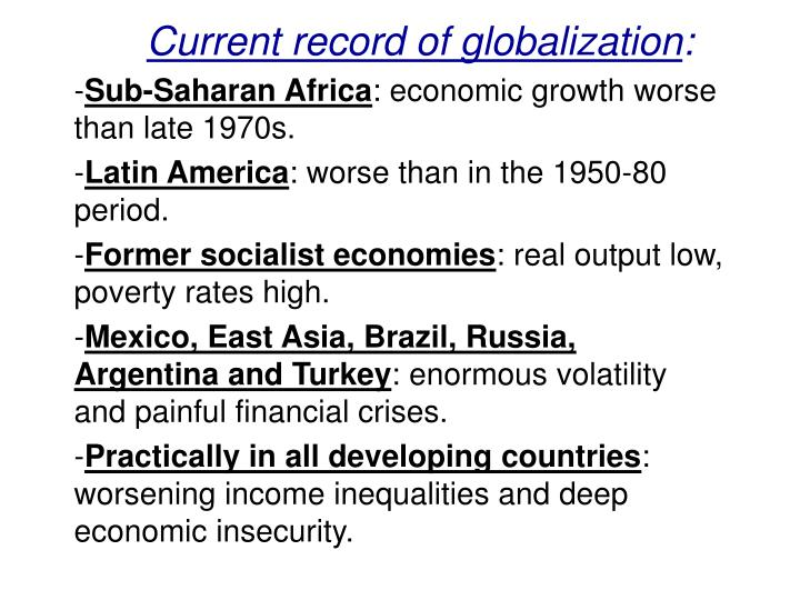 Current record of globalization