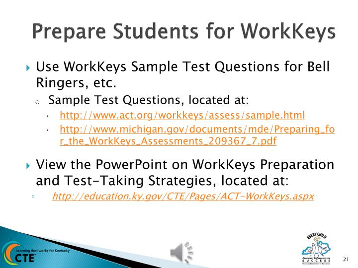 Prepare Students for WorkKeys