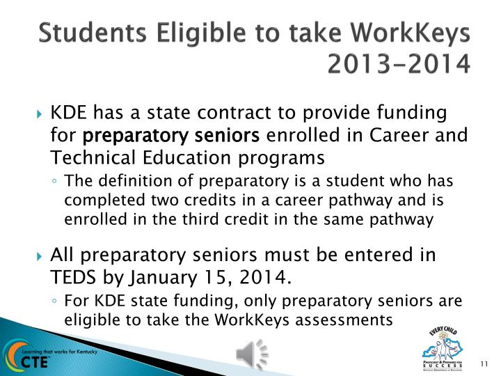 Students Eligible to take WorkKeys