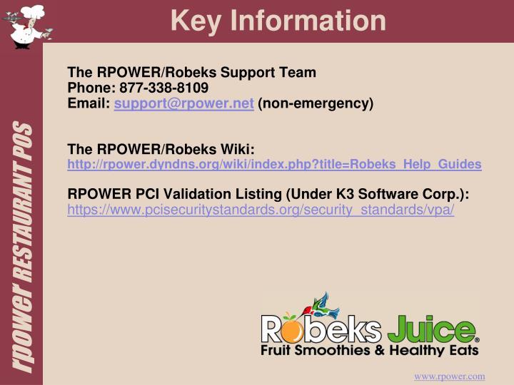 The RPOWER/Robeks Support Team