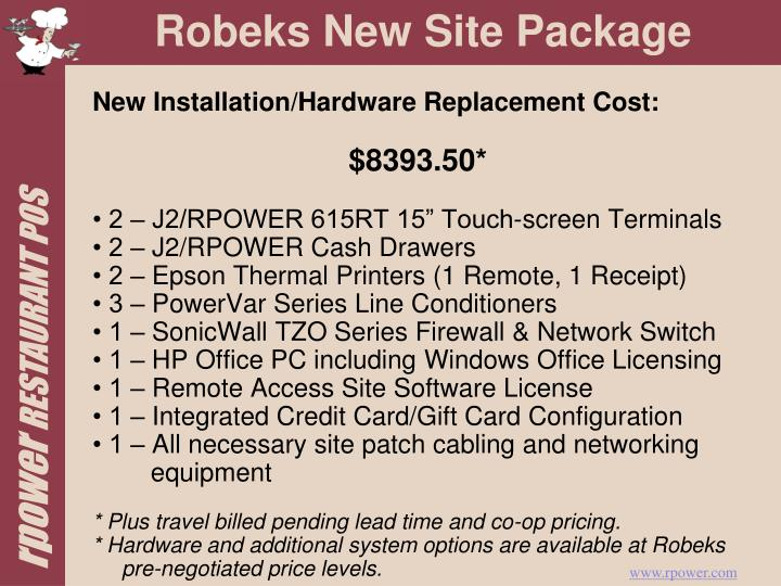New Installation/Hardware Replacement Cost: