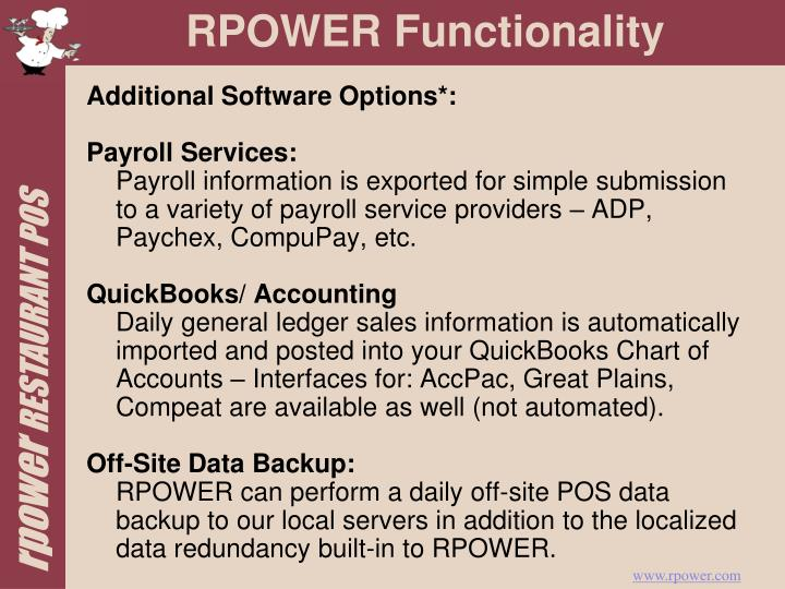 Additional Software Options*: