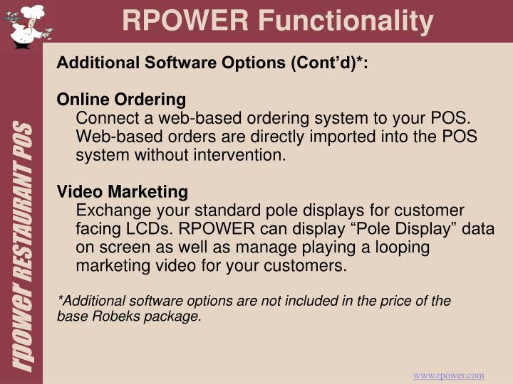 Additional Software Options (Cont'd)*: