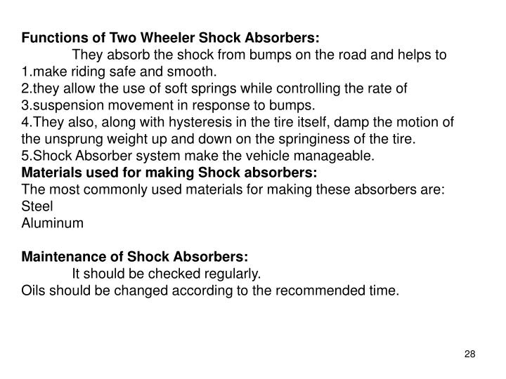 Functions of Two Wheeler Shock Absorbers: