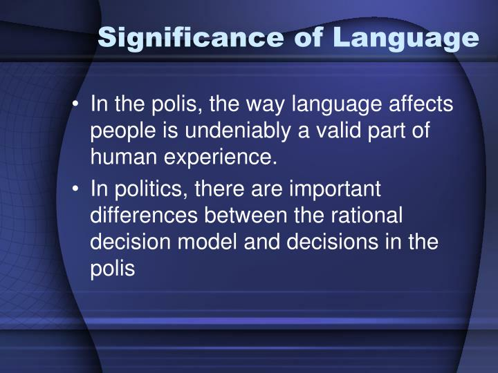 Significance of Language