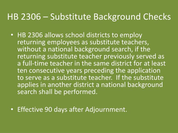 HB 2306 – Substitute Background Checks