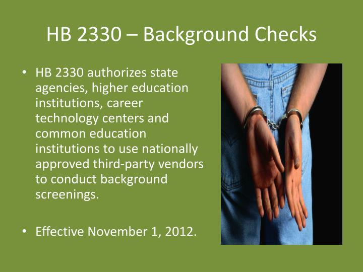HB 2330 – Background Checks
