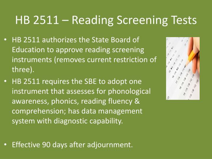 HB 2511 – Reading Screening Tests