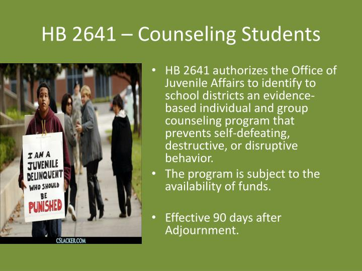 HB 2641 – Counseling Students